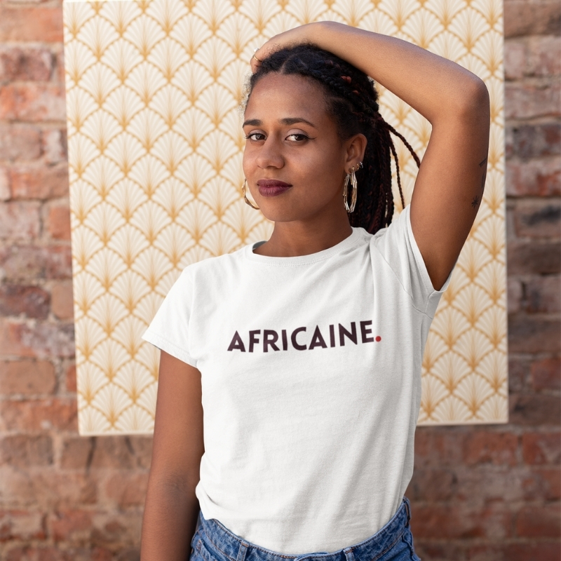 femme africaine t-shirt coton blanc made in France