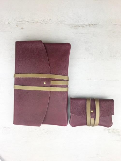 pochette et porte cartes en cuir