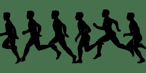 Desenho de pessoas correndo, um exercício físico que faz bem para a saúde do coração.