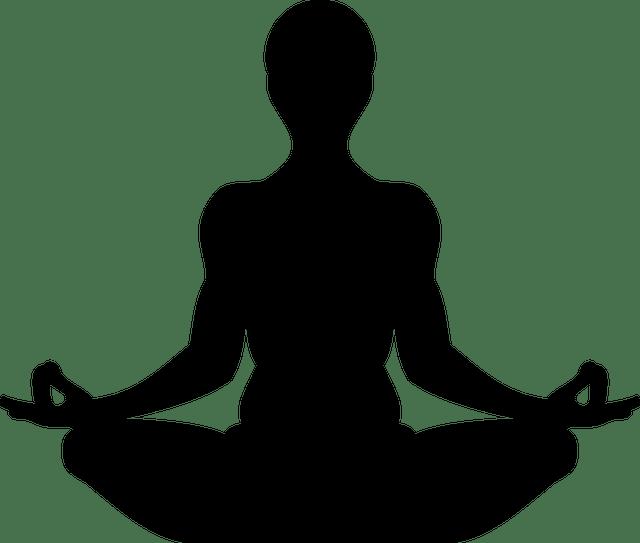 Desenho de uma silhueta de uma pessoa praticando yoga.