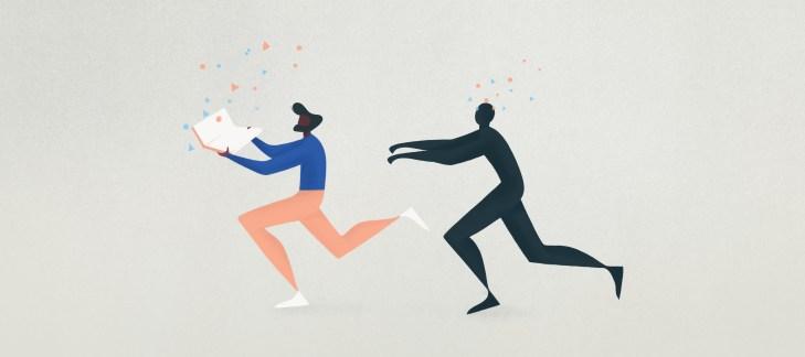 illustrazione raffigurante un dark pattern umanoide mentre insegue un utente col suo pc