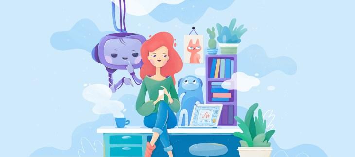 illustrazione di un chatbot per una banca online