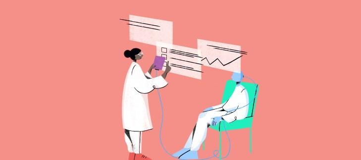 illustrazione di una dottoressa insieme al paziente mentre utilizza software di intelligenza artificiale per la sanità