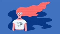 illustrazione raffigurante una donna e un reticolo di dati tra i capelli e sulla t-shirt