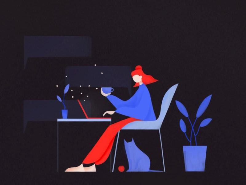 illustrazione raffigurante una donna al pc mentre dialoga con un agente intelligente