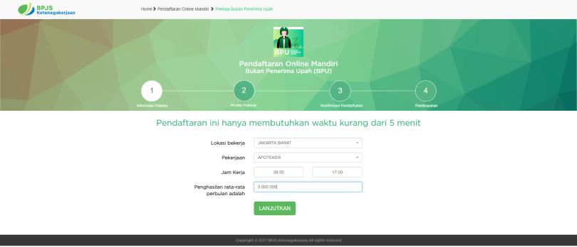 Contoh Pengisian Informasi Pekerja Bukan Penerima Upah (Source: https://www.bpjsketenagakerjaan.go.id)