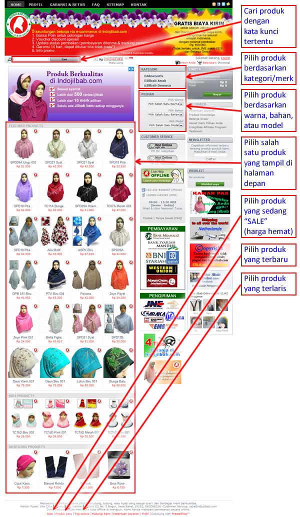 Menelusuri dan Memilih Produk di Indojilbab.com