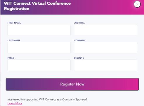 Event Registration Form WIT Connect
