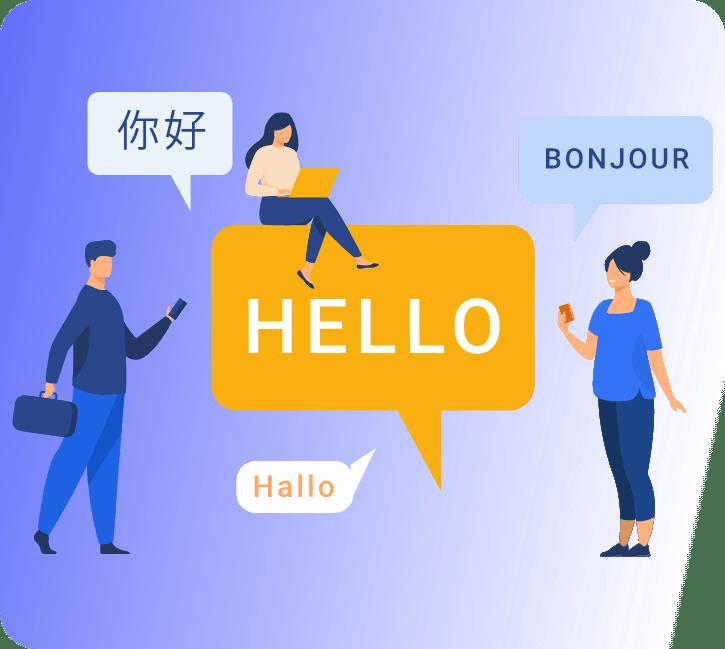 Provide Live Captioning : Chat Box Icons ello, Bonjour, Hallo