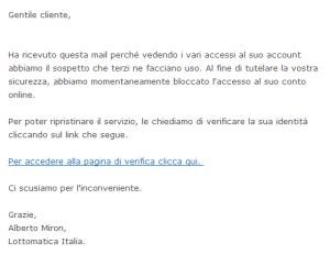 Altro esempio di phishing, ai danni di Lottomatica.