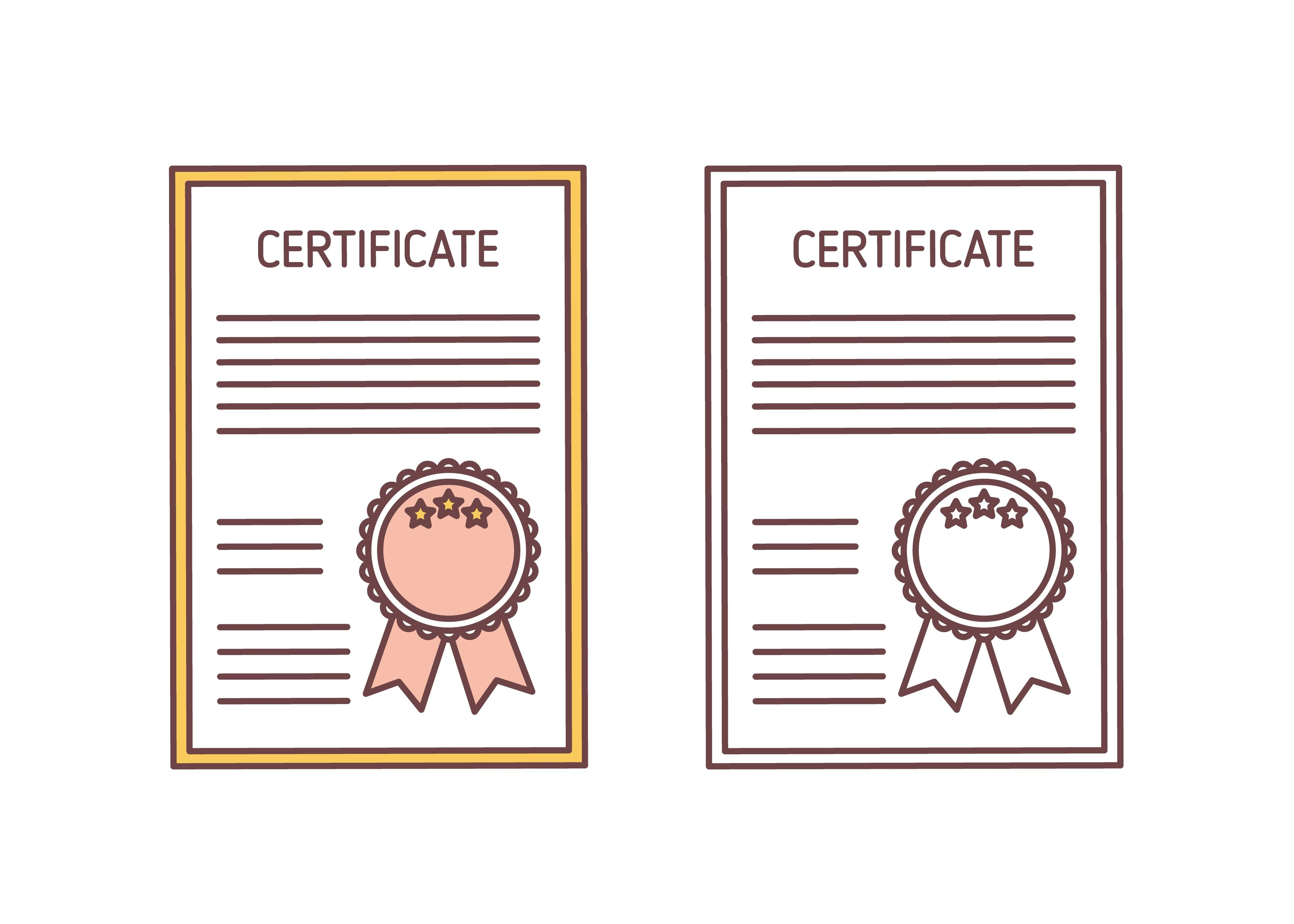 Imagem vetorizada mostrando 2 certificados