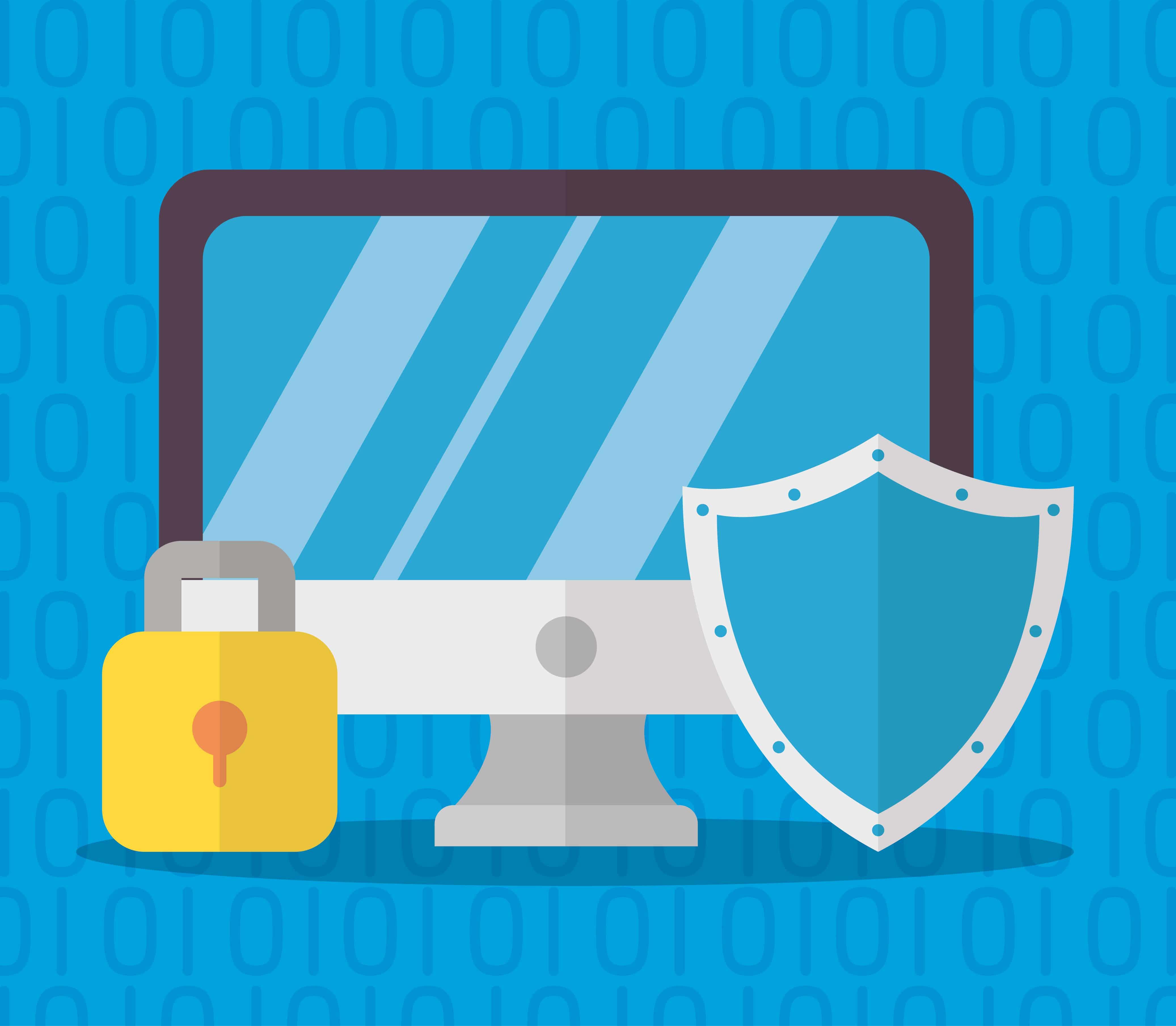 Imagem vetorizada de uma tela de computador e ao lado imagem de um cadeado e um escudo