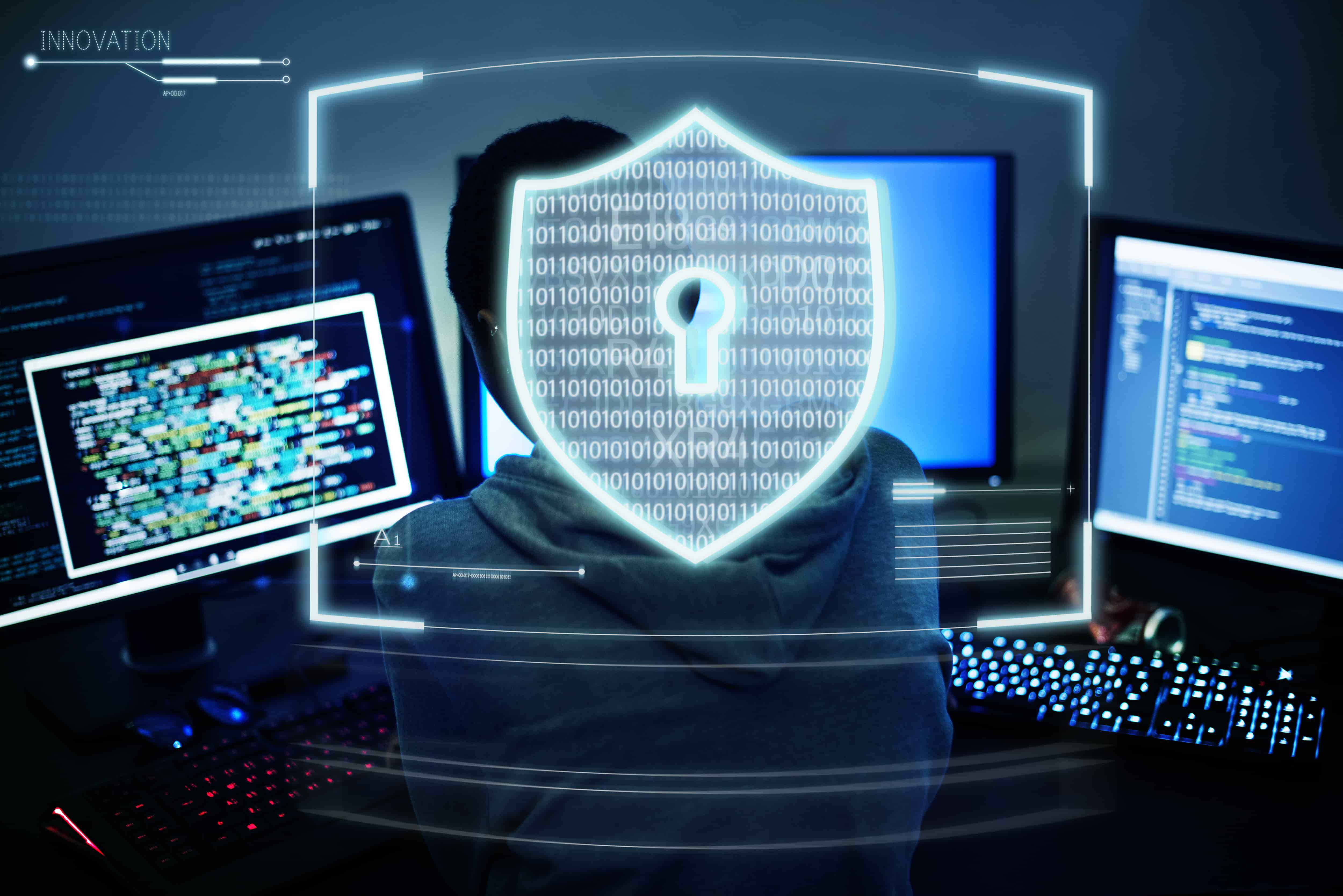 Imagem de uma pessoa analisando dados na tela do computador e ao centro imagem vetorizada de um escudo