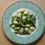 Creamy blue cheese gnocchi with asparagus and peas