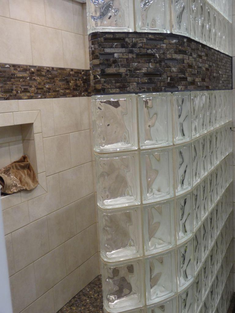 decorative tile border in a glass block