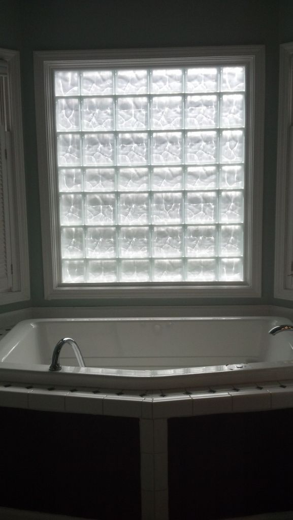 frosted glass block bathroom window with protect all process