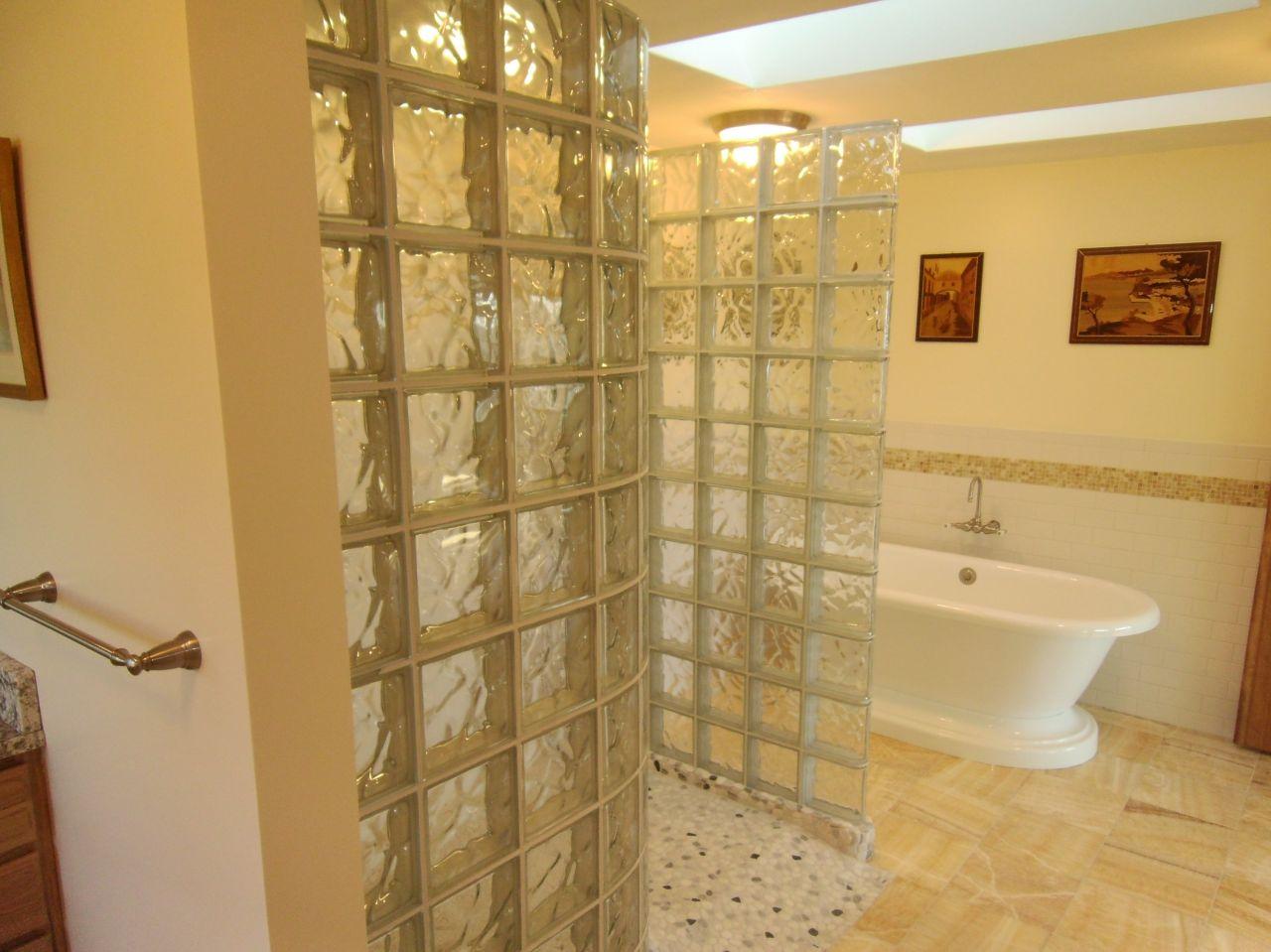 Best Kitchen Gallery: Remodeling Space Over A Garage Larger Master Bathroom New Harbor Maine of Glass Block Bathroom Designs  on rachelxblog.com