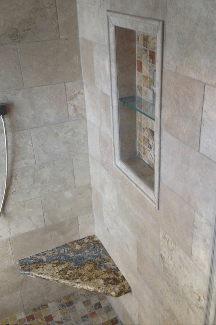 Small Columbus Ohio Bathroom Remodel With A Colored Glass