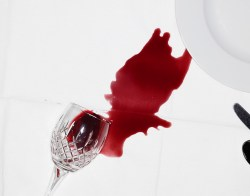 Spilled red wine on tabelcloth