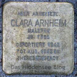 Stolperstein von Clara Arnheim in Vitte auf dem Norderende (Bäckerei Löwe).