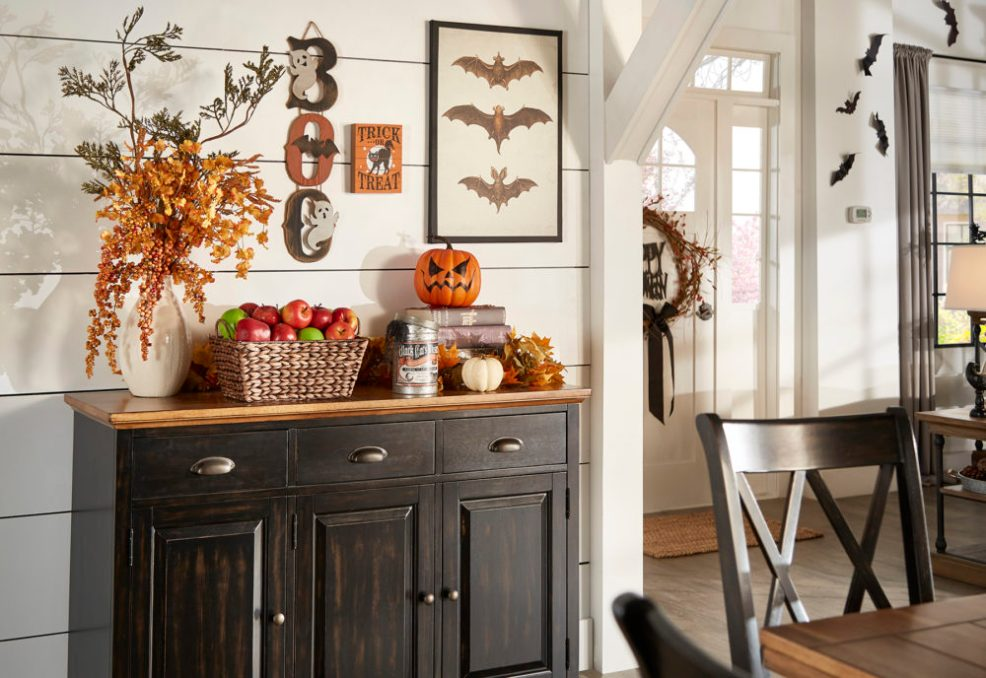 iNSPIRE Q Farmhouse Holiday Decor-- kitchen server with halloween decor (apples, skulls, and pumpkins!)
