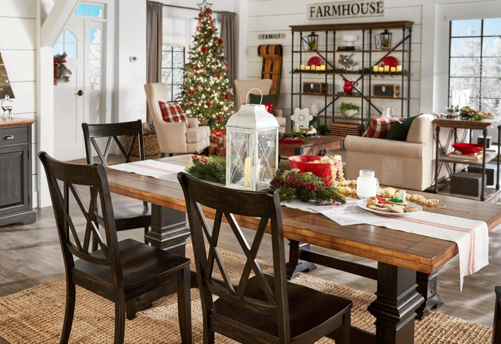 iNSPIRE Q Farmhouse Holiday Decor-- Christmas overview of living and dining room