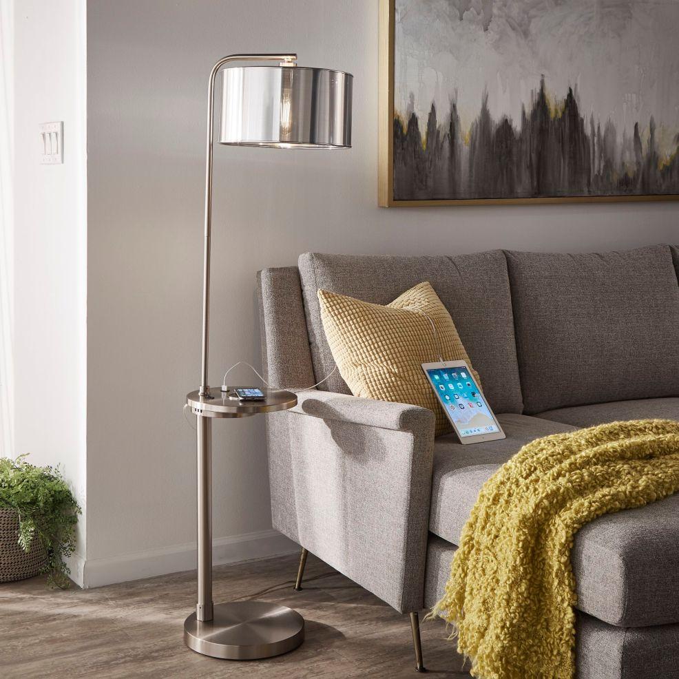 iNSPIRE Garrison Nickel Finish Metal Floor Lamp