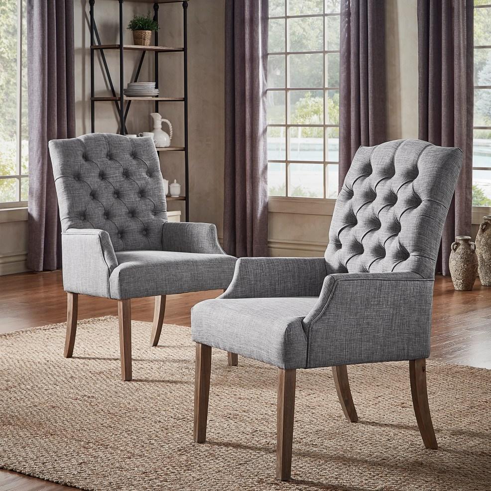 iNSPIRE Q Artisan button-tufted linen hostess chair