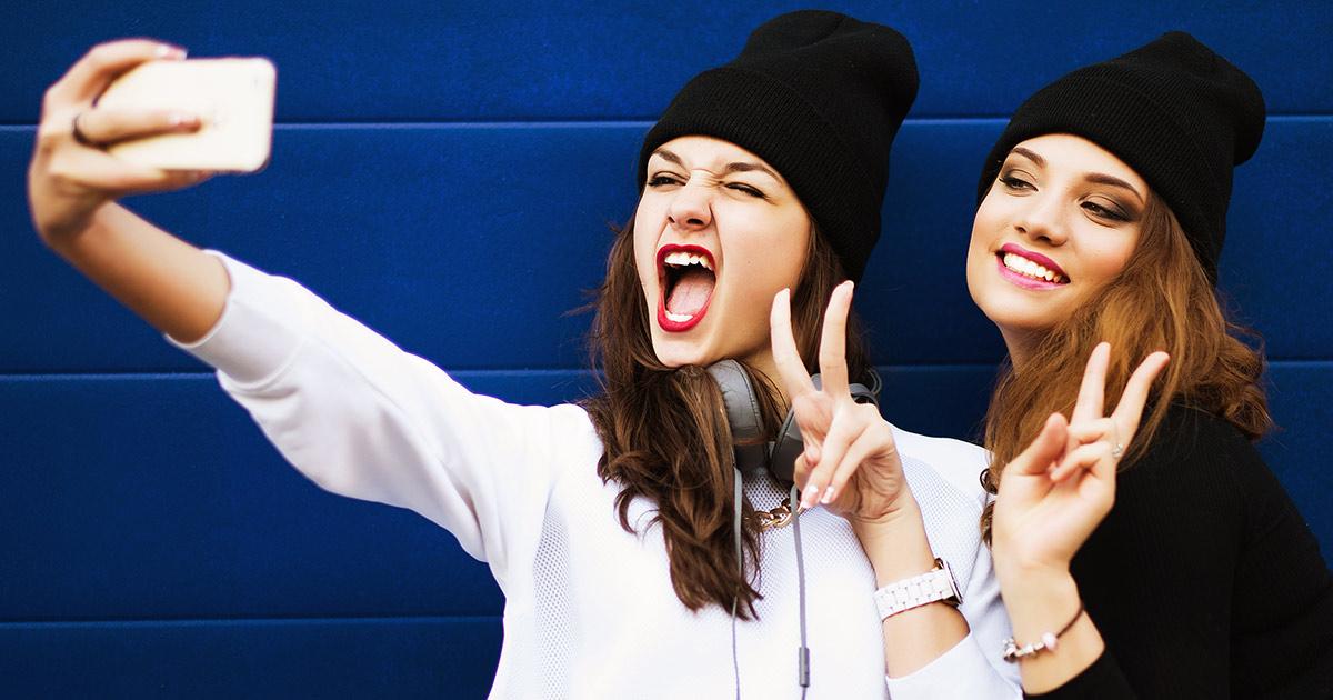 Generation Z girls taking a selfie
