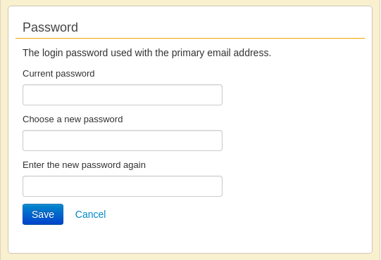 Screenshot of Change Password