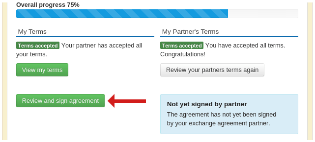 Screenshot of an exchange agreement ready to sign