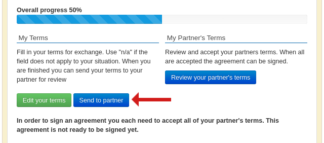 Screenshot of an ongoing agreement ready to send terms to a partner
