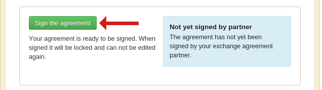 Screenshot of the exchange agreement sign button