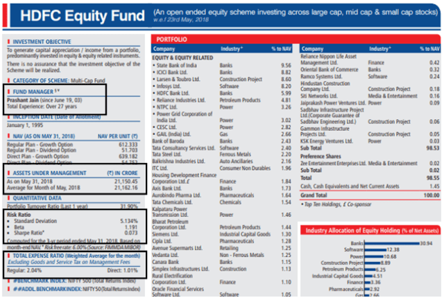 HDFC Equity Fund May 2018 FactSheet 1st half