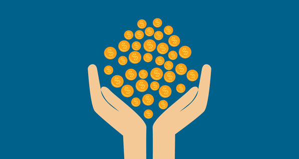 Money Being Held in Hands Graphic Blue Background