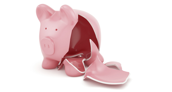 Broken and Empty Piggy Bank Representing Cash Flow Crisis