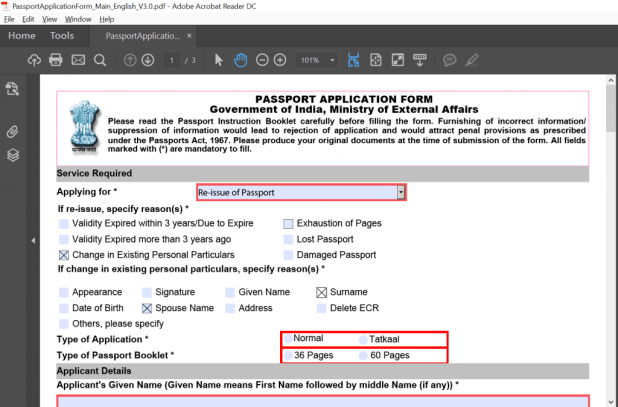 How To Change Application Form For Passport
