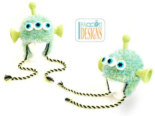 Area 51 Roswell Alien Hat with Twisted Ties Crochet Pattern by Irarott