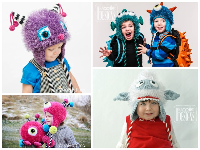 Monster Hat Collection with Twisted Ties crochet patterns by IraRot