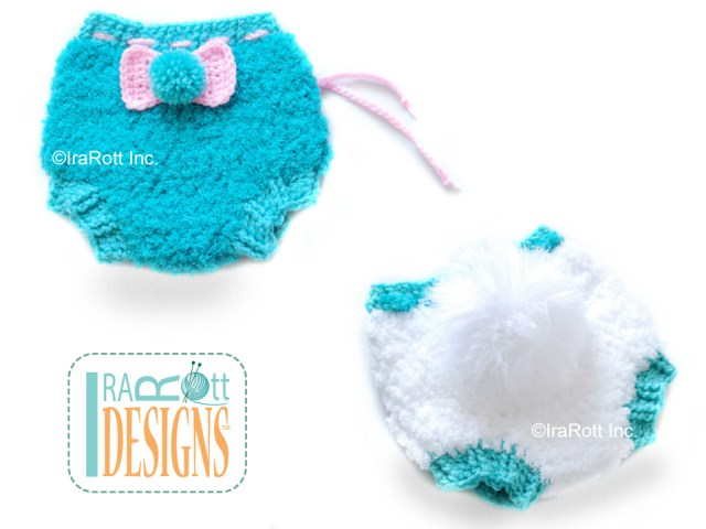 Crochet Pipsqueak Diaper Cover with a Rabbit Tail