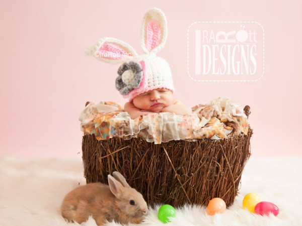 Easter Bunny Rabbit Animal Hat Crochet Hat Pattern by IraRott