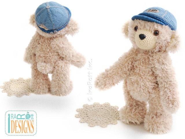 Teddy bear in denim cap crochet pattern