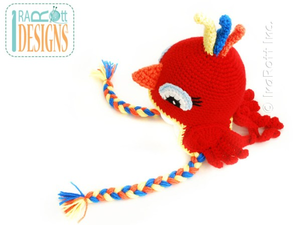 Cardinal Parrot Bird Animal Hat Crochet Pattern by IraRott