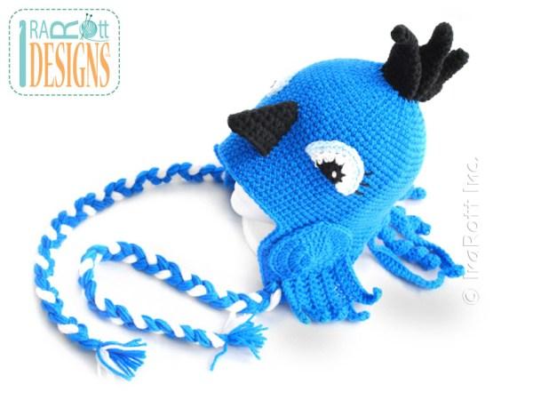 Blue Jay Parrot Bird Animal Hat Crochet Pattern by IraRott