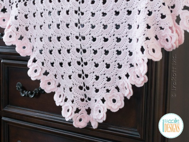 Floral lace baby blanket crochet pattern by IraRott
