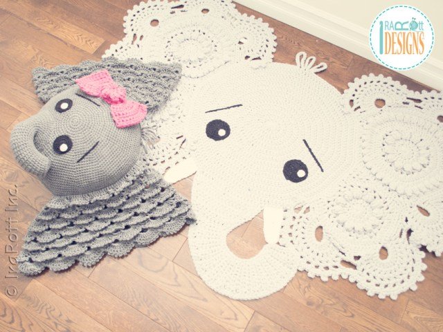 Josefina and Jeffery Elephant Rug and Pillow Crochet Patterns by IraRott