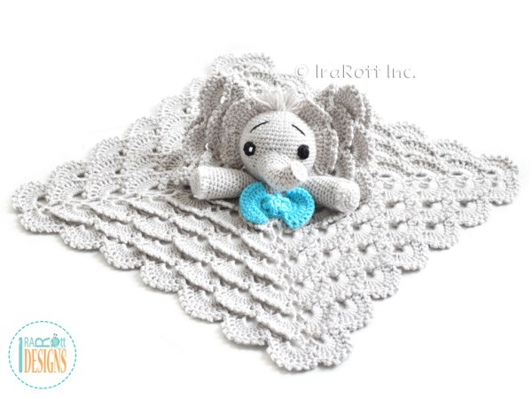 Elephant lovey security blanket crochet pattern by IraRott