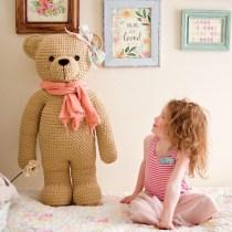 Crochet teddy bear made from Bernat Blanket Yarn using an IraRott Pattern