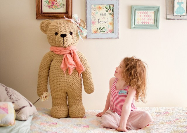 Crochet teddy bear made from Bernat Blanket Yarn using an IraRott Pattern