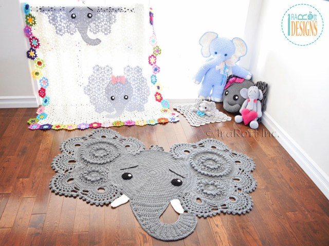 Josefina and Jeffery Crochet Elephant Rug by IraRott - 2017 Pattern Update